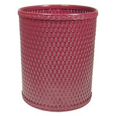 Chelsea Collection Decorator Color Round Wicker Wastebasket, Raspberry