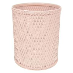 Chelsea Collection Decorator Color Round Wicker Wastebasket, Tea Rose