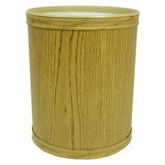 Woodgrain Vinyl Round Wastebasket, Oak