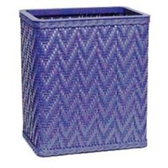 Elegante Collection Decorator Color Wicker Wastebasket, Coastal Blue