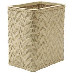 Elegante Collection Decorator Color Wicker Wastebasket, Cream