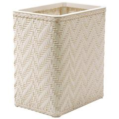 Elegante Collection Decorator Color Wicker Wastebasket, White