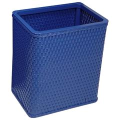 Chelsea Collection Decorator Color Square Wicker Wastebasket, Coastal Blue