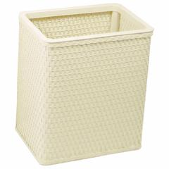 Chelsea Collection Decorator Color Square Wicker Wastebasket, Cream