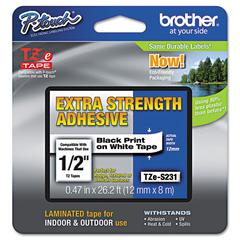 "P-Touch TZe Extra-Strength Adhesive Laminated Labeling Tape, 1/2""w, Black on White"