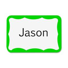 "Printer Name Badge - 3.37"" Width x 2.30"" Length - 200 / Box - Rectangle - 8/Sheet - Inkjet, Laser - Green"