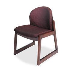 Safco Urbane Armless Guest Chair - Polyester Burgundy, Olefin Seat - Wood Mahogany Frame