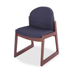 Urbane Armless Guest Chair - Fabric Black Seat - Wood Medium Oak Frame