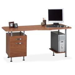 "Mayline Compact Box/File Desk Computer Workstation - Rectangle - 1 Pedestals - 29"" Height - Steel - Medium Cherry"