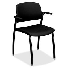 "Guest Chair With Arms - Polyester Black Seat - 23.3"" x 21.5"" x 33"" Overall Dimension"