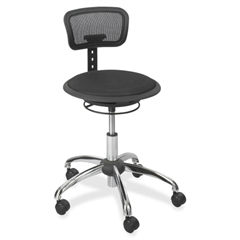 """Safco Mesh Stool with Backrest - 250 lb Load Capacity - 23.8"""" x 27.3"""" x 33.8"""" - Black"""