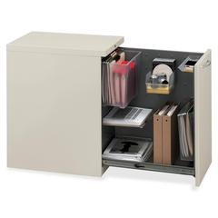 """HON Flagship Right Side Access Pedestal File Cabinet - 15.0"""" x 22.9"""" x 28.0"""" - File Drawer(s) - Security Lock - Putty"""