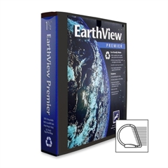"Aurora Earthview Premier D-Ring Binder - 1.50"" Binder Capacity - Letter - 8.50"" Width x 11"" Length Sheet Size - 3 x D-Ring Fastener - 2 Pockets - Black - 1 Each"