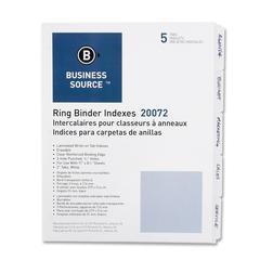 "Business Source 3-Ring Plain Index Divider - 5 Write-on Tab(s)2"" Tab Width - 8.50"" Divider Width x 11"" Divider Length - Letter - 3 Hole Punched - White Divider - Mylar Tab(s) - 5 / Set"