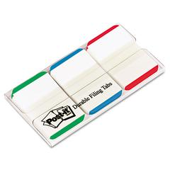 Post-it File Tabs, 1 x 1 1/2, Lined, Blue/Green/Red, 66/Pack
