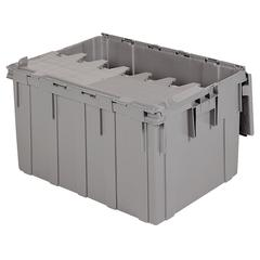Attached Lid Container 28 gal, Gray, Gray