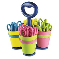 "School Scissors Caddy w/24 Pairs of Kids' Scissors w/Microban, 5"" Pointed"