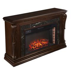 Stone Creek Carved Widescreen Fireplace w/ Natural Marble