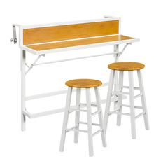 Madrona Balcony Bar/Bistro 3pc Set - White w/ Faux Oak
