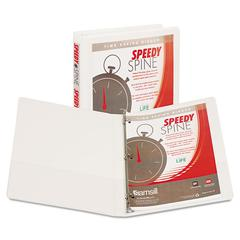 "Speedy Spine Round Ring View Binder, 11 x 8-1/2, 1/2"" Cap, White"