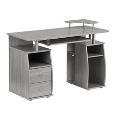 Complete Computer Workstation Desk With Storage, Gray
