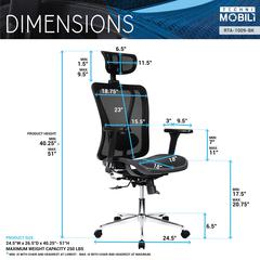 Techni Mobili High Back Executive Mesh Office Chair with Arms, Headrest and Lumbar Support , Black