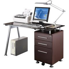 Stylish Brown Tempered Glass Top Computer Desk with Storage. Color: Chocolate