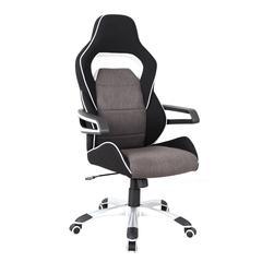 Techni Mobili Ergonomic Upholstered Racing Style Home & Office Chair, Grey/Black