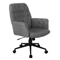 Techni Mobili Modern Upholstered Tufted Office Chair with Arms, Grey
