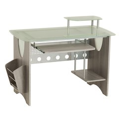 Stylish Frosted Glass Top Computer Desk with Storage,  Grey