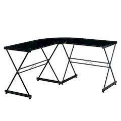 Black L-shaped Glass Computer Desk