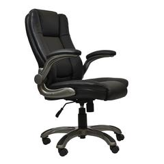 Medium Back Executive Office Chair with Flip-up Arms. Color: Black