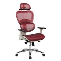 Techni Mobili Deluxe High Back Mesh  Executive Office Chair with Neck Support, Red