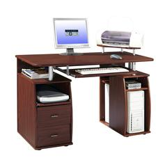 Complete Computer Workstation Desk With Storage. Color: Mahogany