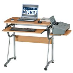 Compact Computer Desk With Side Shelf And Keyboard Panel. Color: Cherry