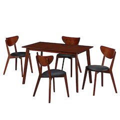 Modern Wood Dining Room Table and Chair 5 piece set