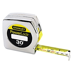 "Powerlock Tape Rule, 1"" x 30', Plastic Case, Chrome, 1/16"" Graduation"