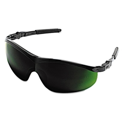 Crews Storm Safety Glasses, Black Frame, Green Lens