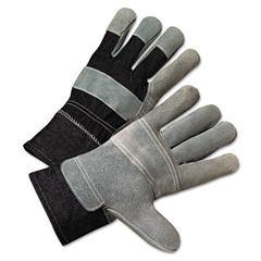 Anchor Brand 2000 Series Leather-Palm Denim-Back Gloves, 2 1/2in Cuff, Large
