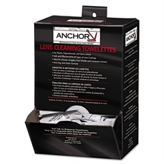 "Anchor Brand Lens Cleaning Towelettes, 5 in x 8"", White"