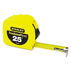 "Stanley Tools Tape Rule, 1"" x 25ft, Steel Blade, Plastic Case, Yellow"