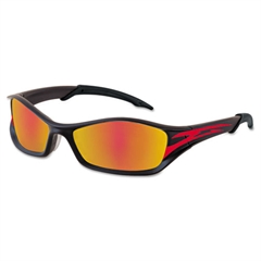 Crews Tribal Tattoo Protective Eyewear, Graphite Red Frame, Fire-Mirror Lens