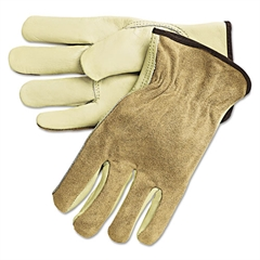 Dual Leather Industrial Gloves, Cream, Large
