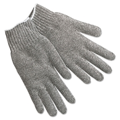 String Knit Gloves, Gray Cotton/Polyester, Large