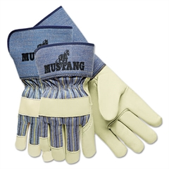 Mustang Premium Grain-Leather Gloves, 4 1/2in Gauntlet Cuff, Large