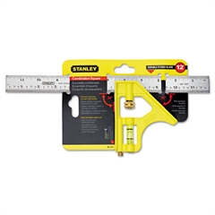 "Stanley Tools Combination Square, Steel, 12"", Yellow/Chrome"