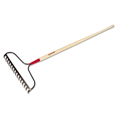 "Bow Rake, 15 Curved Tines, 60"" Handle, Steel/Ash"
