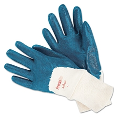 Memphis Predalite Nitrile Gloves, Cotton Lined, Blue/White, Large
