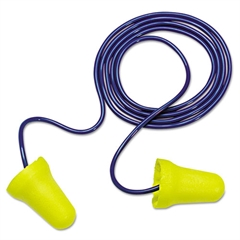 3M E·A·R E-Z-Fit Single-Use Earplugs, Corded, 28NRR, Yellow/Blue