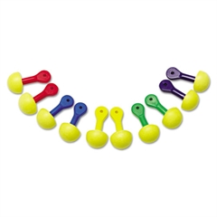 3M E·A·R Express Assorted Colored-Grip Pod Plugs, Cordless, 25NRR, Yellow/Assorted
